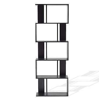 Rebecca Furniture Shelf Library 5 Étagères Black Wood Modern Style 172.5x60x24