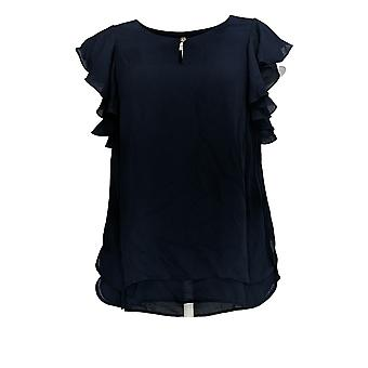 Susan Graver Women's Top Woven Top with Ruffle Sleeves Blue A353356