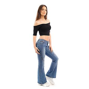 Faded Mid Rise Stretch Denim Wide Flared Bellbottom Jeans