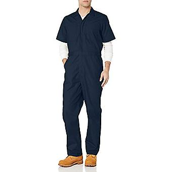 Essentials Men's Stain & Wrinkle-Resistant Short-Sleeve Coverall, Dark...