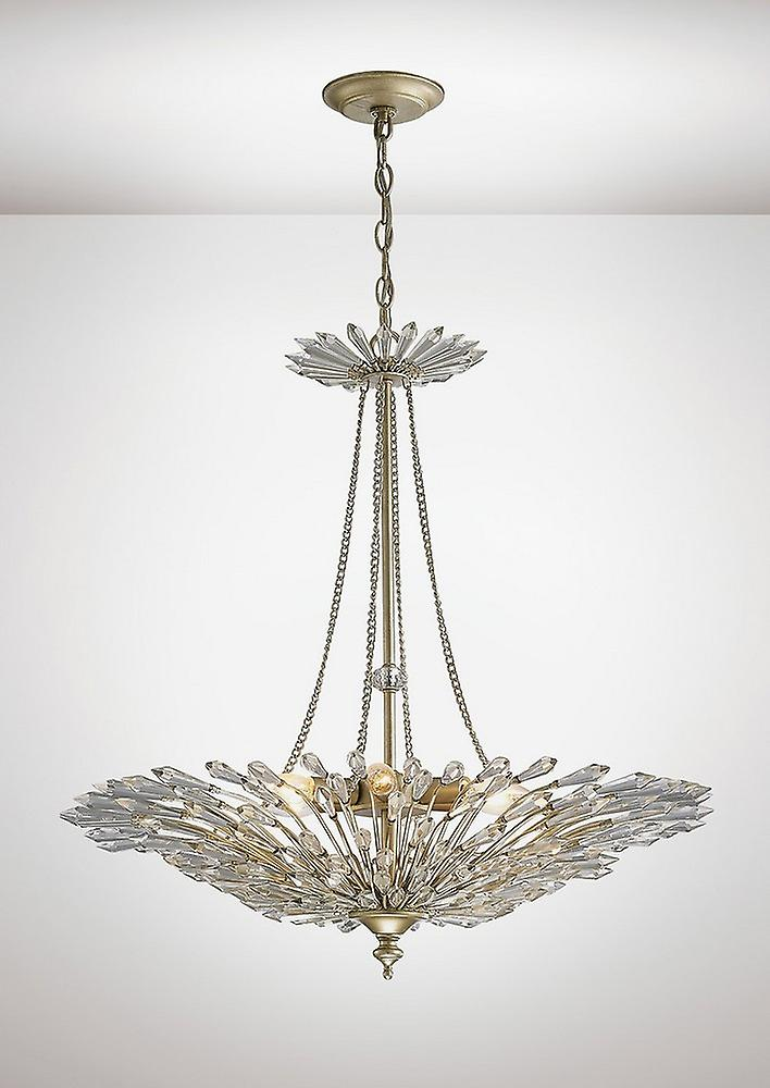 Inspired Diyas - Fay - Ceiling Pendant 6 Light E14 Aged Gold, Silver, Crystal