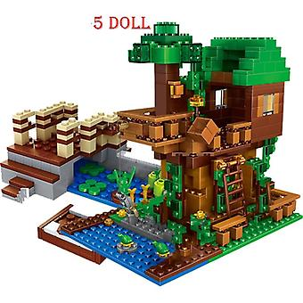 Minecraftinglys Building Blocks Cave Light My Worlds Village Warhorse City Tree House With Elevator Bricks Toys Children Gift