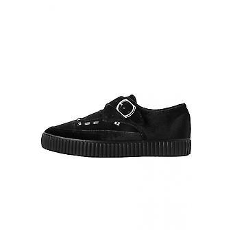 TUK Shoes Black Velvet Monk Buckle Pointed Creeper Sneaker