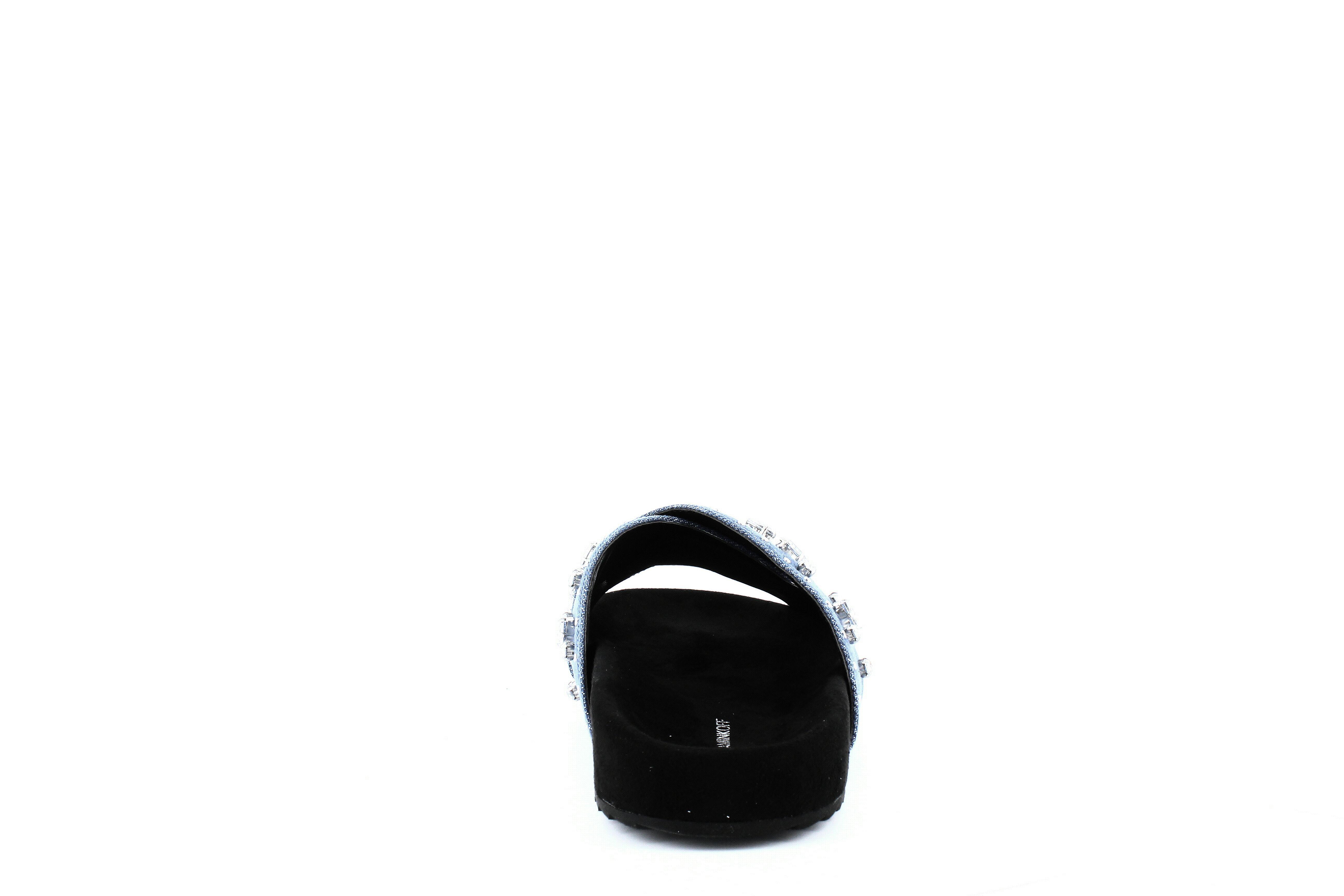 Rebecca Minkoff   Theo Jeweled Denim Slide Sandals