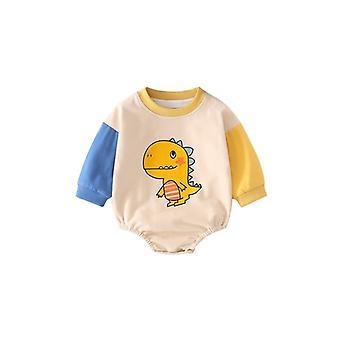 Infant Cotton Romper Long Sleeves Crewneck Snap Button One Piece