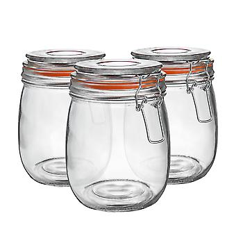 Argon Stolové sklenené úložné poháre s vzduchotesným vekom - 750ml Set - Oranžové tesnenie - Balenie po 3