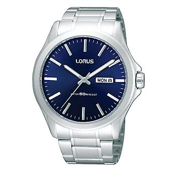 Lorus Mens Stainless Steel Dress and Blue Dial Watch (Model No. RXN65CX9)