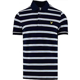 Lyle & Scott Navy Sininen Raidallinen Poolopaita