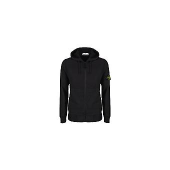 Stone Island Cotton Zip Up Black Hoodie
