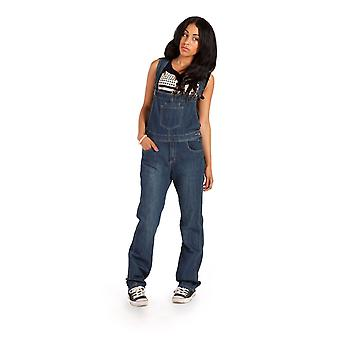 Womens dark wash dungarees regular fit with long leg - size 8