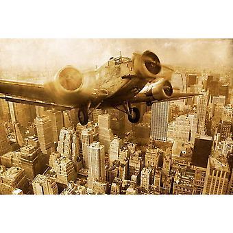 Wallpaper muurschildering oude vliegtuig boven Manhattan
