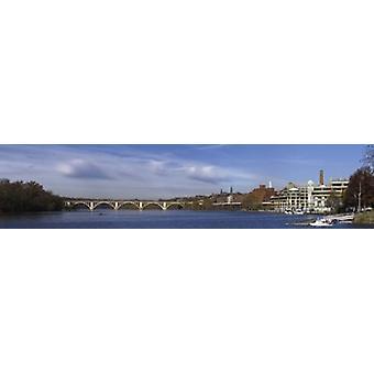 فرنسيس سكوت مفتاح جسر عبر نهر بوتوماك طباعة ملصق جورج تاون واشنطن العاصمة الولايات المتحدة الأمريكية القديمة