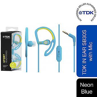 TDK Sport Headphones with Mic, Neon Blue