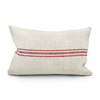 Vintage Grain Sack - Three Red Stripes Pillow Cover