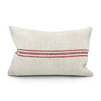Vintage Grain Sack - Tres rayas rojas almohada cubierta
