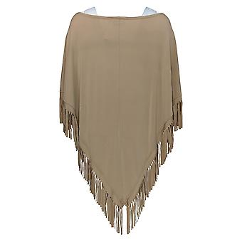 Attitudes by Renee Women's Top Jersey Knit Poncho Fringe Beige A279825