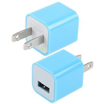 Us Plug USB Charger, iPad, iPhone, Galaxy, Huawei, Xiaomi, LG, HTC ja muut älypuhelimet, ladattavat laitteet (sininen)