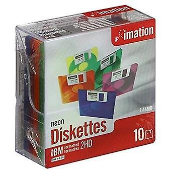 Imation ds-hd 3,5-Zoll-Ibm formatiertes Neon mit Kunststoffbox (Packung mit 10)