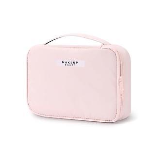 Bolso de aseo y bolsa de maquillaje con bolsillos interiores de color rosa