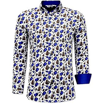 Shirts With Guitar Print - 3069 - White Blue