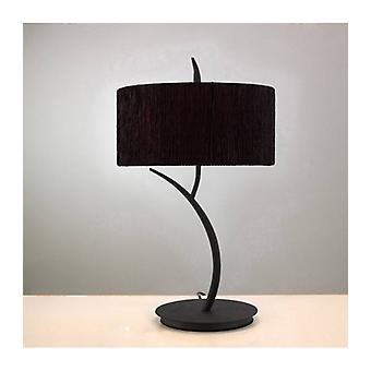 Eve Tisch lampe 2 Glühbirnen E27 groß, Anthrazit mit Runden schwarzen Lampenschirm