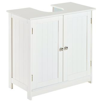 HOMCOM Under Sink Bathroom Storage Cabinet 2 Layers Vanity Unit Wooden - White