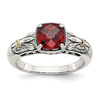 925 Prata esterlina polida com 14k garnet ring joalheria presentes para mulheres - Tamanho do anel: 6 a 8