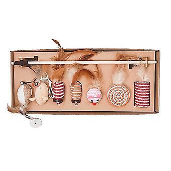 7 peças de brinquedo de gato interativo brinquedo conjunto de brinquedo gato em caixa de presente conjunto de brinquedo gato para moagem garras utilização e variedade
