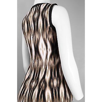 Padrão abstrato sem mangas Prada Twill Flared Dress