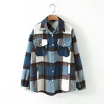 الخريف / الشتاء الأزرق منقوشة طويلة سترة عارضة معطف دافئ خارج ملابس قمم