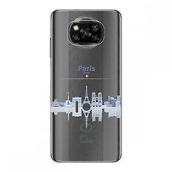 Casco para Xiaomi Poco X3 Nfc en silicona suave 1 mm, Monumentos de París