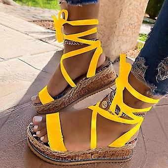 Sommar Kvinnor Snake Sandaler Plattform Klackar Cross Strap Ankel Spets Peep Toe