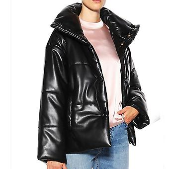 Solide Pu Leder Parkas Frauen Mode High Imitation Ledermäntel