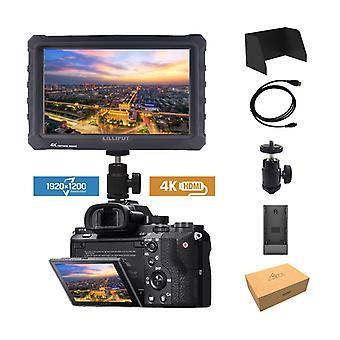 Black lilliput a7s 7 inch 1920x1200 hd ips 500cd/m2 camera field monitor 4k hdmi input output video