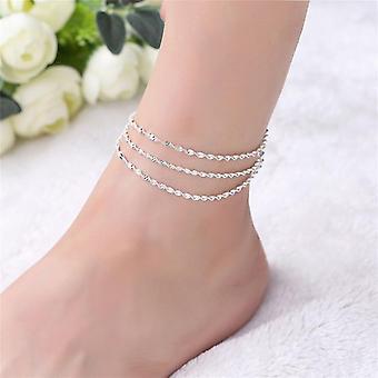 Bratara de argint fermecatoare, bijuterii picior anklet, femei Leg Chain