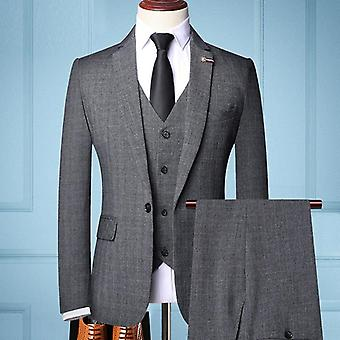 Men's Slim-fit Business Suit Fashion 3 Pieces Blazerstuxedos Suits