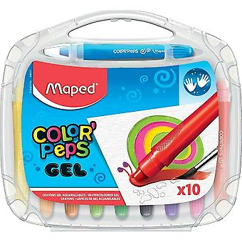 Gel Pens for Kids by Helix Maped Color'Peps Gel Smoothy Crayons (10 pack)