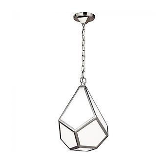 Lámpara Colgante De Diamantes, Níquel Pulido Y Cristal Opal, Pequeña
