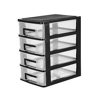 Stark plast 4 låda Mini Tower Förvaringsenhet Hem / kontor / sovrum Skåp