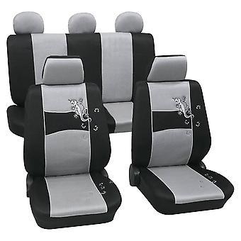 Bilbarnstol täcker Geko silver och svart, tvättbar på 30 grader, airbag kompatibel, rolig, modern, unik