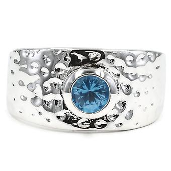 Contemporary Wide Hammered Bezel Set Band Ring