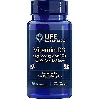 Käyttöiän pidennys Vitamiini D3 avec Iode de Mer 5000 Ui de 60 Gélules