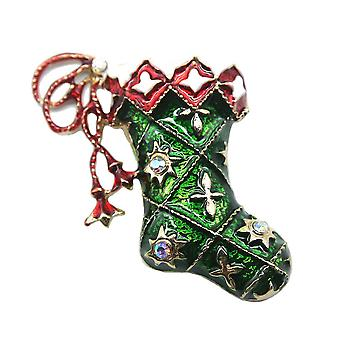 Corsage Christmas Boots Girl Brooch Cute Brooch Pin Green