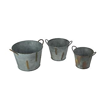 3 Piece Weathered Gray Rustic Metal Pail Planter Set With Handles