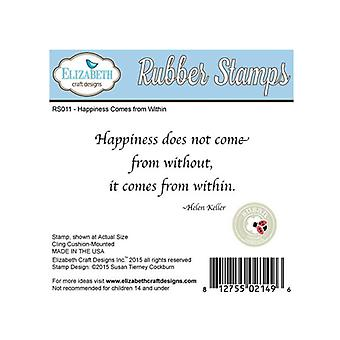 Elizabeth Craft Designs Happiness Does Red Rubber Stamp