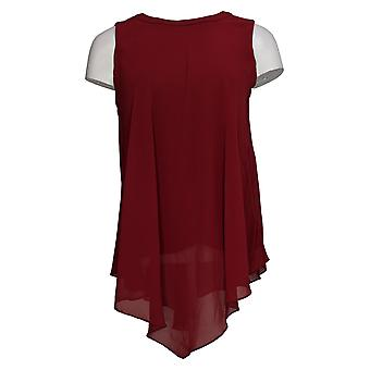 Susan Graver Women's Top Fully Lined Sheer Chiffon Scarf Red A366151