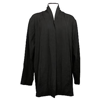 Isaac Mizrahi Live! Women's Sweater Drape Front Cardigan Black A387519