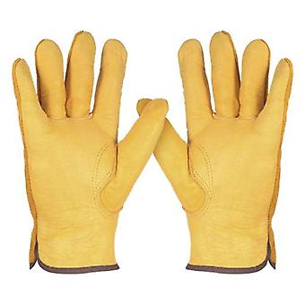 Leather Working Gloves Men's Work Cowhide Gloves Gardening Digging Planting Plant Flower Pruning Protective Glove Driver Security Non-Slip Protection Wear Safety Workers Welding Moto Gloves for Men and Women with Elastic Wrist