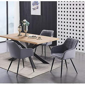 Lusso & Enzo Dining Set | Modern Dining Table | Velvet Dining Chair | Modern Set |  (black/oak & Dark Grey)