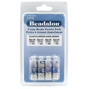 Beadalon Crimp Pärlor, 4 storlekar Mix, 600 Stycken, Silver pläterade